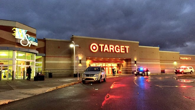 The scene of a reported shooting on Wednesday night at Washington Square Mall in Indianapolis.