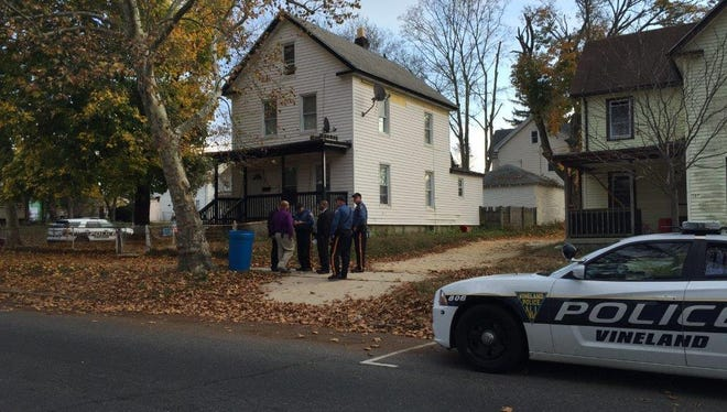 Vineland police on the scene of a reported stabbing in the 300 block of West Elmer Street on Friday afternoon in the