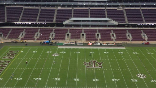 The press box view of Kyle Field, the home stadium at Texas A&M, hours before Auburn at No. 19 Texas A&M Saturday night.
