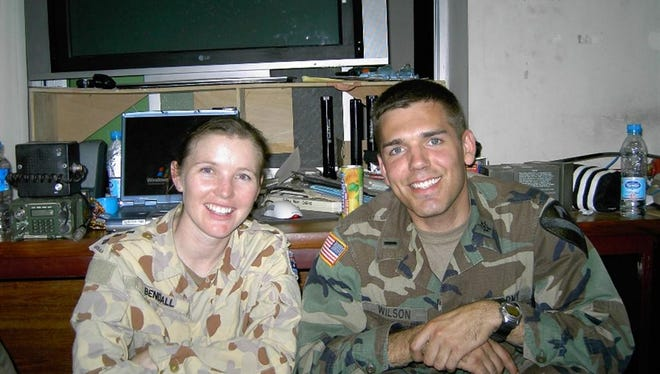 James Wilson poses with Capt. Jada Bendall of the Australian Army during a service stint in Pakistan.