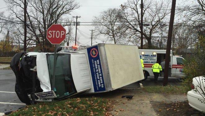 Two men inside the Rent-A-Center delivery truck were taken to Inspira Medical Center Vineland after a crash Thursday at Third and Elmer streets, Vineland.