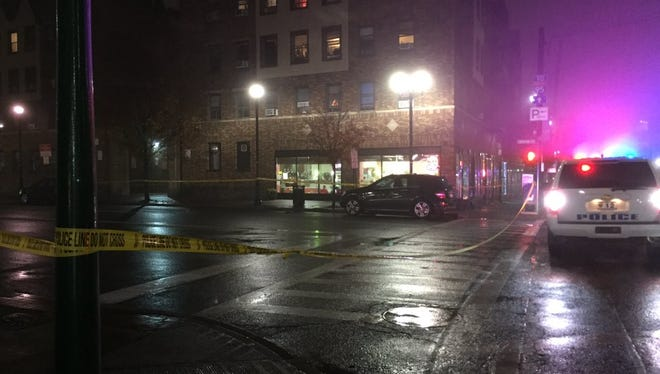 A man in his 30s is in 'serious condition' after being struck by a car while crossing Harrison Street in New Rochelle on Wednesday, Dec. 2, 2015.