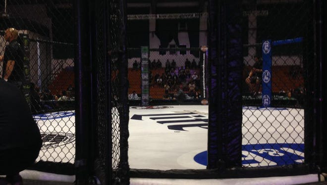 The old Pacific Xtreme Combat cage, last used at PXC 49 is shown at the University of Guam Calvo Field House in this file photo.