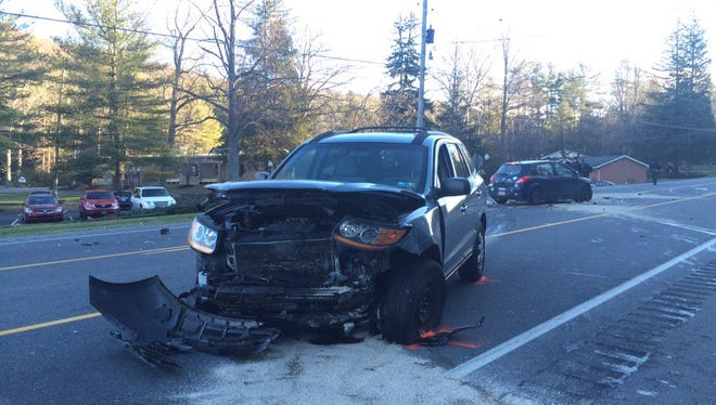 A Hyundai Sante Fe sits along Route 30 in Franklin Township after a crash Monday morning.