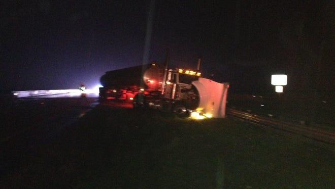 Emergency crews respond to a crash involving a semi truck on SR 528