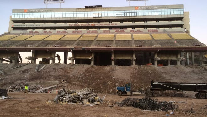 A view of the west side upper deck in December during the reconstruction of Sun Devil Stadium.