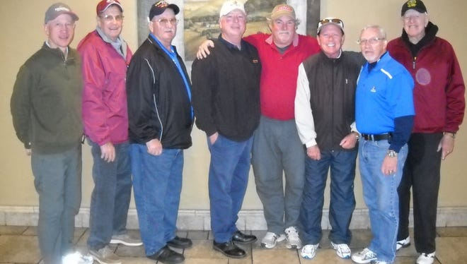 The El Paso/Las Cruces Old Timers Golf Group played its monthly tournament at Coronado Country Club. January's winners and the club they represent were, left to right, David Epperson, Painted Dunes; Bob Porter, Picacho Hills; Ben Hicks, Dos Lagos; Duke Fox, Vista Hills; James Hargrove, Horizon; Bob Kitchens, Coronado; John Yeisley, Coronado; and Frank Wasco, Underwood Fort Bliss.