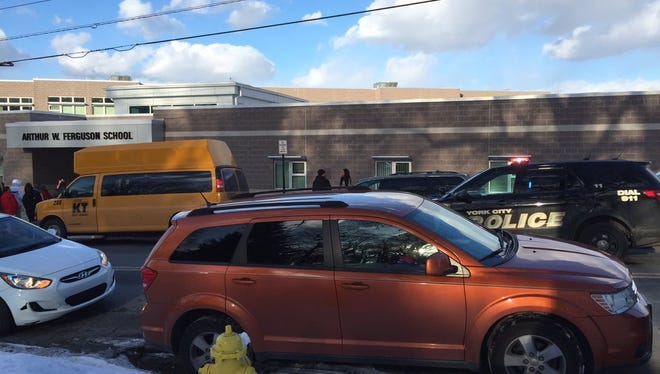 A lockdown was in place at Ferguson K-8 school in York on Thursday, Feb. 11, 2016.