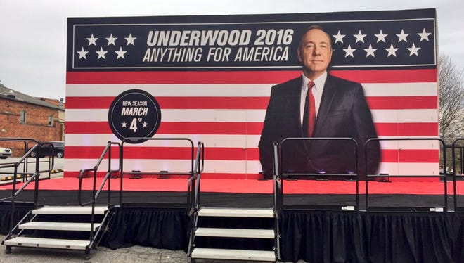 """'House of Cards' President Frank Underwood is opening a """"campaign office"""" on S. Main Street."""