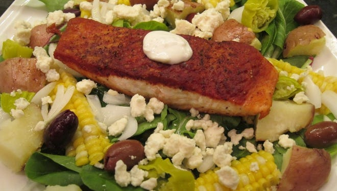 The ingredients for this salad perfectly complement the flavor and texture of the crispy fish.