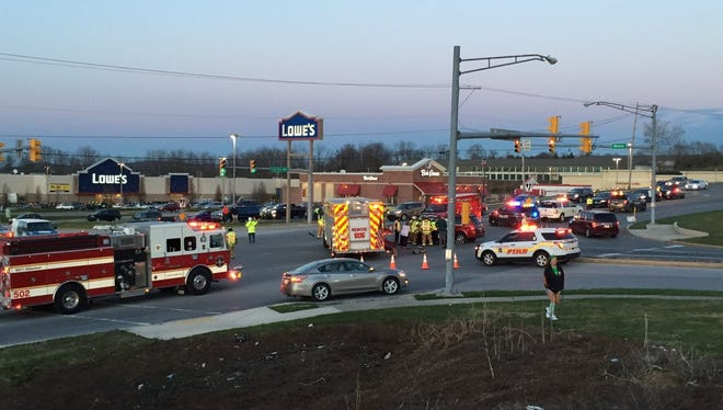 Crews respond to a crash at PA-74 and White Street in West Manchester Township on Thursday, March 17, 2016.