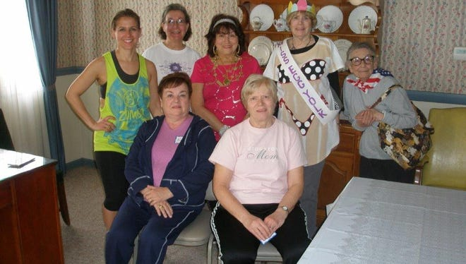 (Seated, from left) Norene Ritter and Doris Schalick; and (standing, from left), Pam Burke, Shirley Burke, Linda Gallina, Ann Starkey and Josephine Pagano, members of the Woman's Club of Vineland, participate in the Performing Arts Day on March 23 at the Millville Woman's Club.