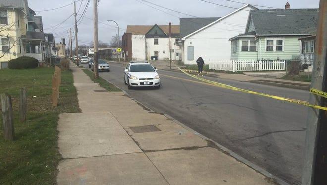 Police investigation on Bay Street, near Goodman, Saturday.