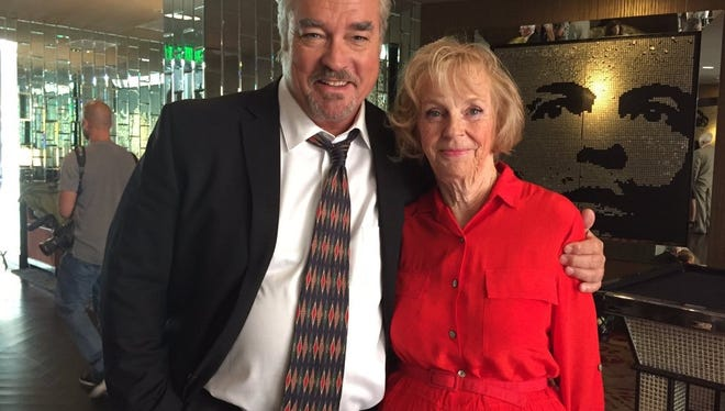 "Actor John Callahan with Connie Taylor on the set of the 2016 film ""Do It or Die."""