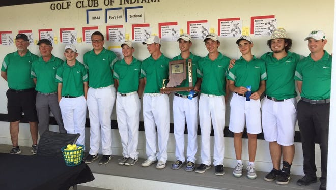 Westfield's boys golf team pose after winning Monday's sectional at the Golf Club of Indiana.