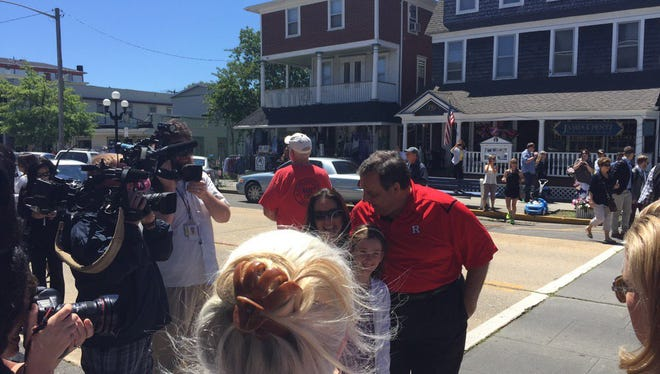 Christie poses for photos in Ocean Grove