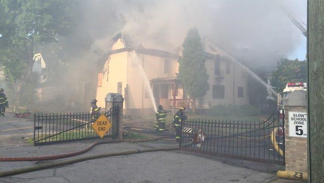 Scene of fire on Remington Street in Rochester Wednesday.