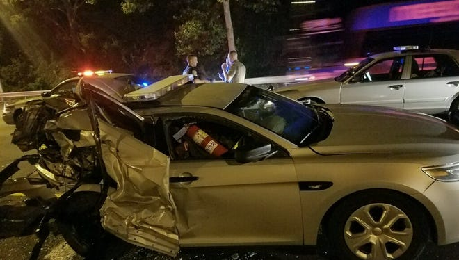 Jheison Callecastro, 21, crashed into a police cruiser in his tow truck, police said.