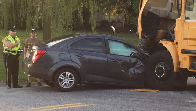 A crash occurred between a car and a Central York School District bus Tuesday. There was one minor injury, according to a school official.