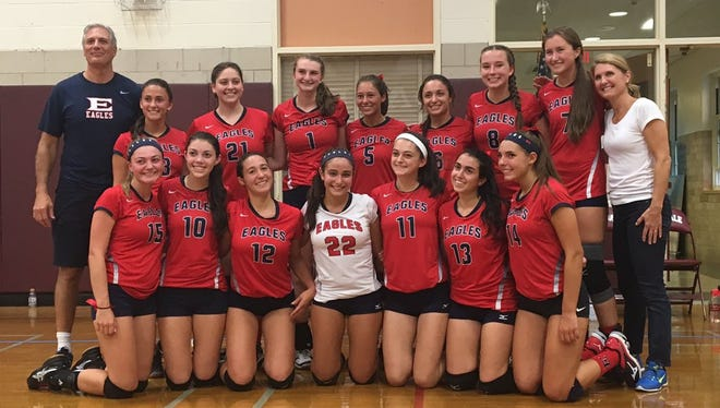 Eastchester won the annual Scarsdale tournament on Saturday, Sept. 17, 2016. It was the first tournament win of any kind for Eagles head coach Kathy DePippo (far right).