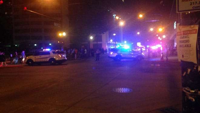 A handout picture obtained with permission by Masaki Sugimoto shows police on scene near the University of Illinois at Urbana-Champaign, Illinois, Sept. 25, 2016. According to reports, several people were injured during a shooting near University of Illinois at Urbana-Champaign campus.