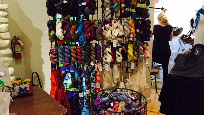 This is yarn from KniTapestry, a yarn shop that opened last year in Waldrick. Nancy Coles is the owner, and she was at the Fiber Arts Festival with this yarn last year.