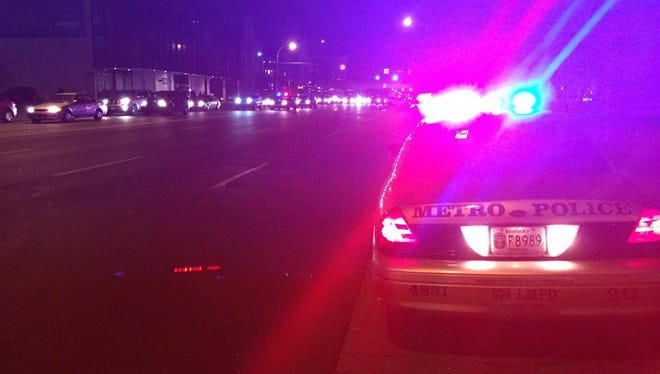 Authorities are investigating an apparent hit-and-run on Broadway between South First and Second streets on Friday, Nov. 4, 2016.