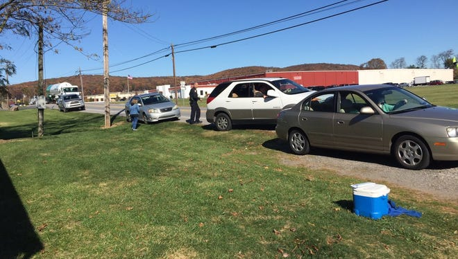 Cars involved in subsequent crashes around 1 p.m. on Nov. 5, 2016, sit on the side of Broadway in Penn Township.