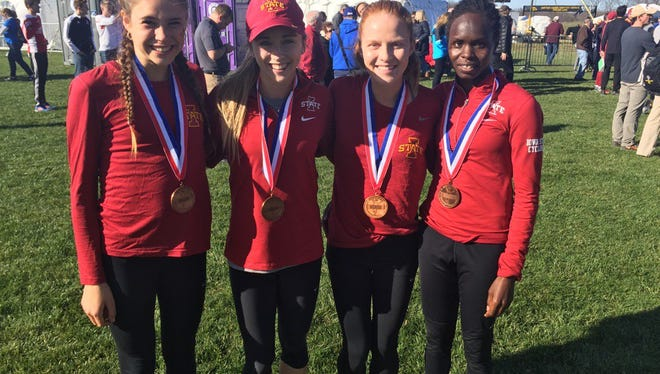 Iowa State's All-Midwest Region finishers Branna MacDougall, Erin Hooker, Anne Frisbie and Perez Rotich.