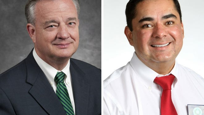 Texas A&M University System Chancellor John Sharp (left) and State Rep. J.M. Lozano, R-Kingsville.