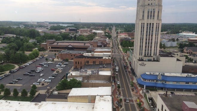 A view of Michigan Avenue in downtown Battle Creek from the Battle Creek Tower at 70 W. Michigan Ave.