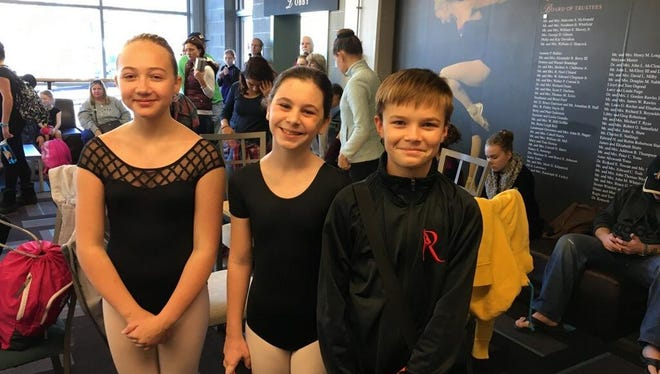 Olivia Garshick, left, Sadie Henry and James Thomas Applegate, dancers with Eastern Shore's Own in Belle Haven, Va will perform with the Richmond Ballet from Dec. 2-4 at Chrysler Hall in Norfolk, Va.