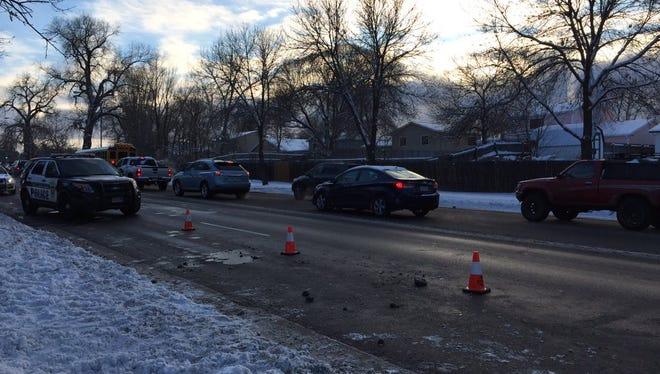 Police investigate the scene of a car versus pedestrian crash on Shields Street between Casa Grande Boulevard and Swallow Street.