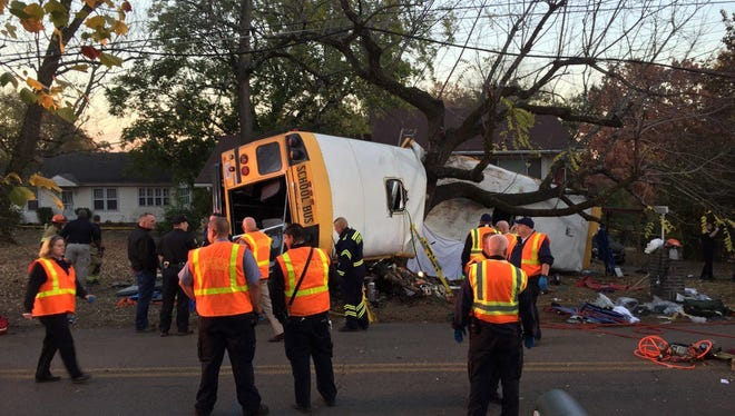Chattanooga Fire Dept. via USA TODAY Network Chattanooga emergency crews check the scene of a deadly school bus accident in Chattanooga, Tenn., on Monday. Nov 21, 2016; Chattanooga, TN, USA;  Chattanooga emergency crews are on scene of a serious school bus accident on Talley Rd. in Chattanooga. Mandatory Credit: Chattanooga Fire Department/Handout Photo via USA TODAY NETWORK