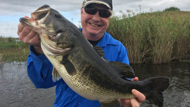 Tom Dalton of Chicago caught and released this big bass Friday while fishing with Capt. Mike Shellen of Okeechobeebassfishing.com.