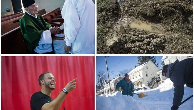 Clockwise, from top left, Monsignor Vincent Topper, a Hanover native, was believed to be the oldest priest in the country; more than 800 people filed complaints against the former owner of Oak Lawn cemetery; Winter Storm Jonas packed a punch in January and New Oxford grad Erik Harris signed with the New Orleans Saints in 2016.