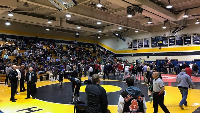 Wrestlers prepare for semifinals at the BCCA wrestling tournament in Hackensack.