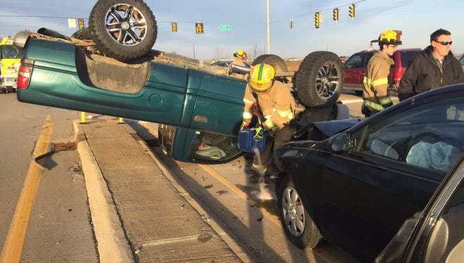 There were no serious injuries reported after a crash on Indiana 66 near Fame Road on Thursday morning.