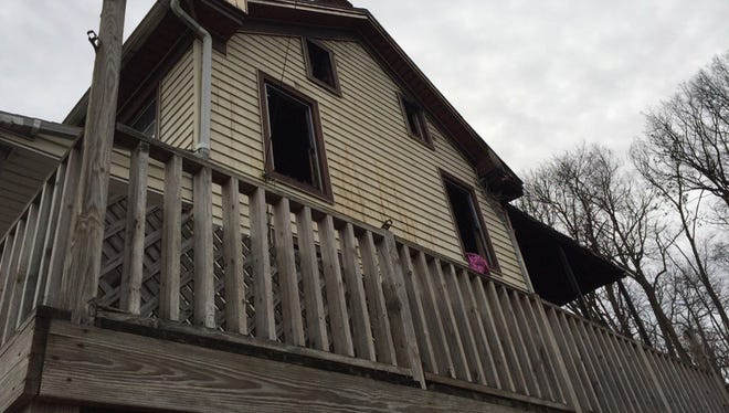 Fire tore through this Yoe home Monday night in the first block of East Pennsylvania Avenue.