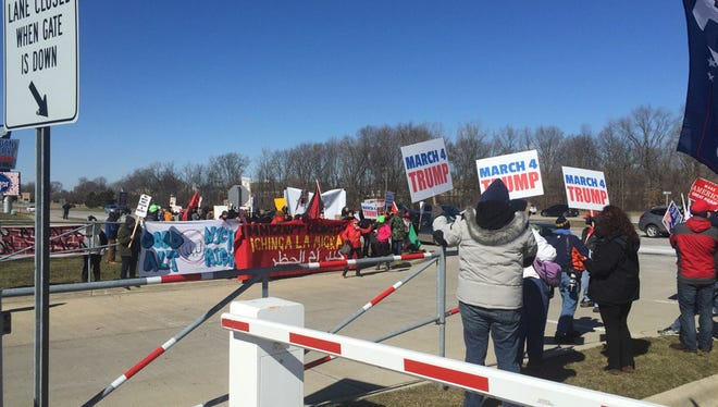 March4Trump participants rally at Macomb County's Freedom Hill.