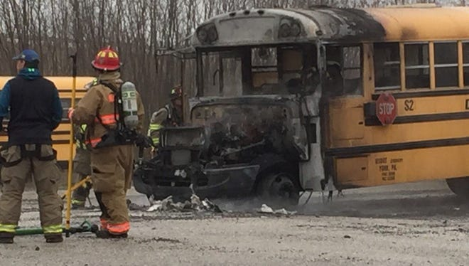 A bus caught on fire in West Manchester Township on Monday. No injuries were reported. The fire was the result of a mechanical problem, a fire official said.