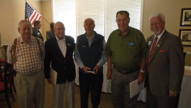 L to R:  Doug Williams, Wilson Wright, Ralph Durr all 55 years, Wayne Hodges, 50 years and Kiwanis Governor Gary Frechette, West Palm Beach. Absent were 55 year members, M.T. Mustian and E. Ray Solomon.