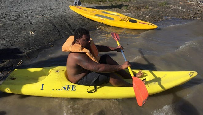 Michigan football player Cesar Ruiz about to go out on Lake Albano on April 25, 2017. Michigan football in Rome Day 3.