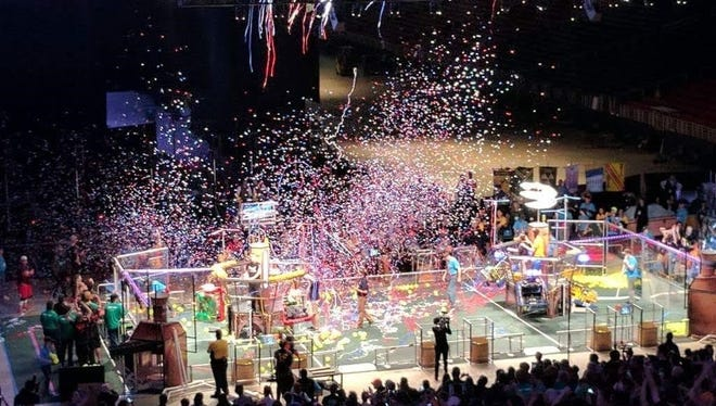 The celebration was on after Team 862 and its three alliance teams embraced a world championship.