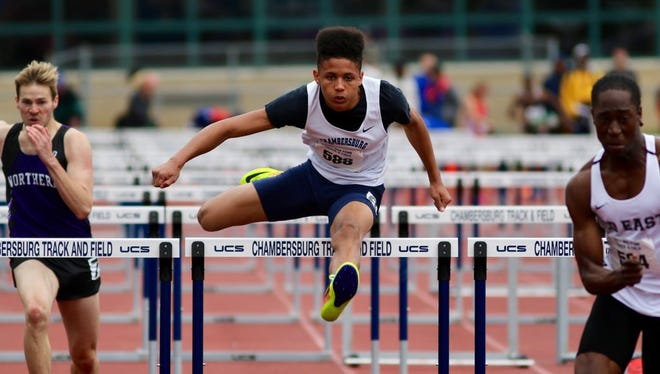 Trayton Barnette of Chambersburg finishes fourth in the 110 meter hurdles at the 2017 Mid Penn Conference Track and Field Championships at Trojan Stadium