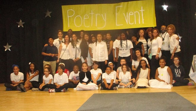Some of the Paterson children who are part of the Cougar Poets Club at School 18.