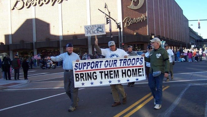 Veterans for Peace members marching in a Veterans Day parade in Nov. 2007.