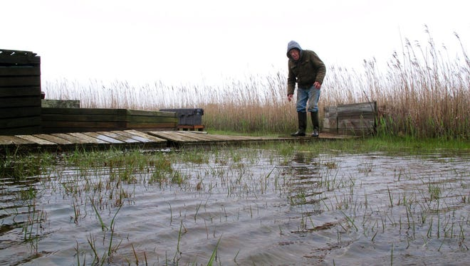 Jim O'Neill walks across a makeshift boardwalk he built in his back yard in Manahawkin because the property is almost always under water, even on sunny days.