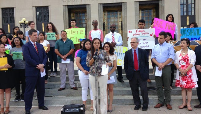 Nashville lawmakers, immigrant advocates and immigrant families hold a news conference May 31, 2017, to discuss two ordinances the Metro Council will consider. The ordinances would implement some sanctuary city-like policies if passed.