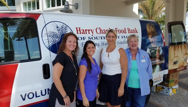 From left; Marcy Ricciardi and Jessica Ayers Crane from Blue Zones Project Southwest Florida, Michelle Kithcart, lifestyle director at Tidewater by Del Webb and Meg Madzar, event and food drive coordinator at Harry Chapin.